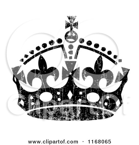 Clipart of a Black Crown with White Distress Overlay - Royalty Free Vector Illustration by BestVector