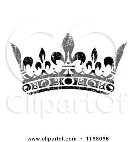 Clipart of a Black Crown with White Distress Overlay 2 - Royalty Free Vector Illustration by BestVector