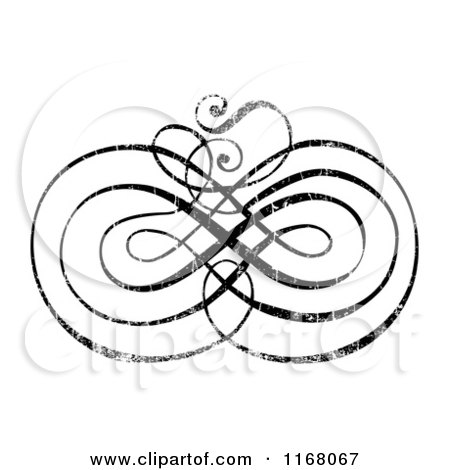 Clipart of a Black Ornate Swirl with White Distress Overlay 2 - Royalty Free Vector Illustration by BestVector