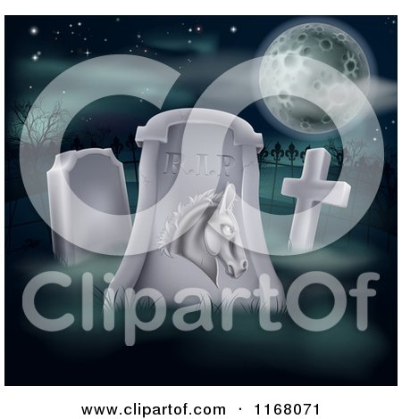 Clipart of a Rip Dead Democratic Politics Tombstone and Full Moon - Royalty Free Vector Illustration by AtStockIllustration