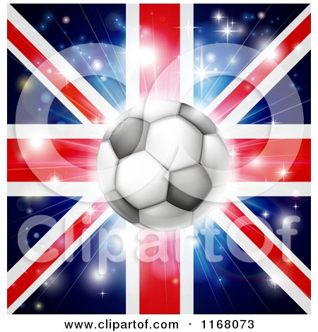Clipart of a Soccer Ball over a Union Jack with Fireworks - Royalty Free Vector Illustration by AtStockIllustration