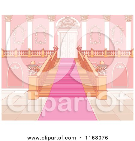 Cartoon of a Pink Carpet Leading up a Principal Staircase - Royalty Free Vector Clipart by Pushkin