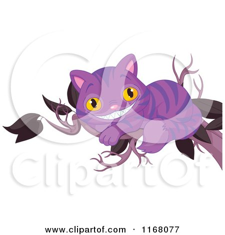 Cartoon of a Purple Grinning Cheshire Cat on a Tree Branch - Royalty Free Vector Clipart by Pushkin