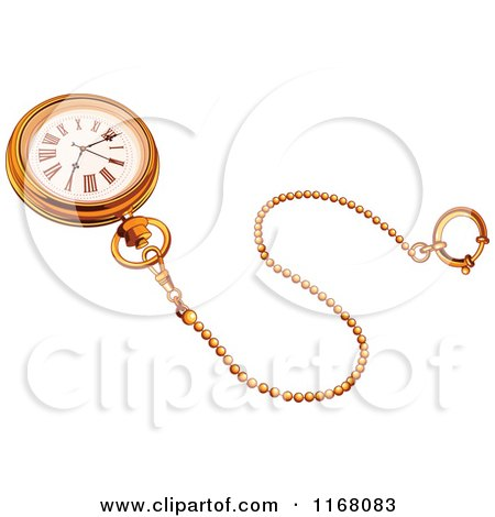 Cartoon of a Golden Pocket Watch and Chain - Royalty Free Vector Clipart by Pushkin