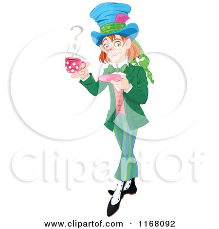 Cartoon of the Mad Hatter Holding a Cup of Tea with a Question Mark in Steam - Royalty Free Vector Clipart by Pushkin