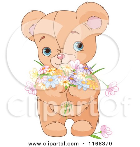 Cartoon of a Cute and Sweet Teddy Bear Holding Spring Flowers - Royalty Free Vector Clipart by Pushkin