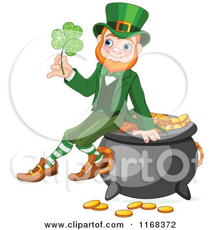 Cartoon of a Happy Leprechaun Sitting on a Pot of Gold and Holding a Lucky Clover - Royalty Free Vector Clipart by Pushkin