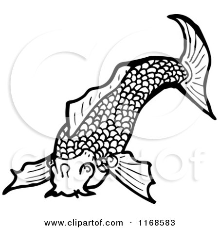 Cartoon of a Black and White Koi Fish - Royalty Free Vector Illustration by lineartestpilot