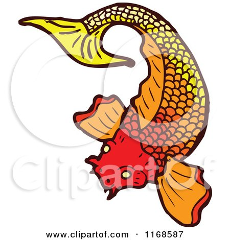 Cartoon of a Gradient Koi Fish - Royalty Free Vector Illustration by lineartestpilot
