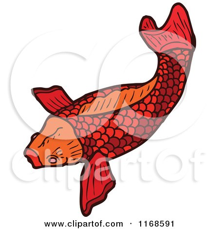 Cartoon of a Red Koi Fish - Royalty Free Vector Illustration by lineartestpilot