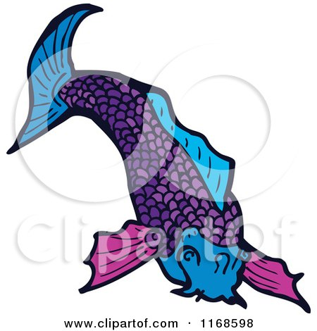 Cartoon of a Purple Koi Fish - Royalty Free Vector Illustration by lineartestpilot