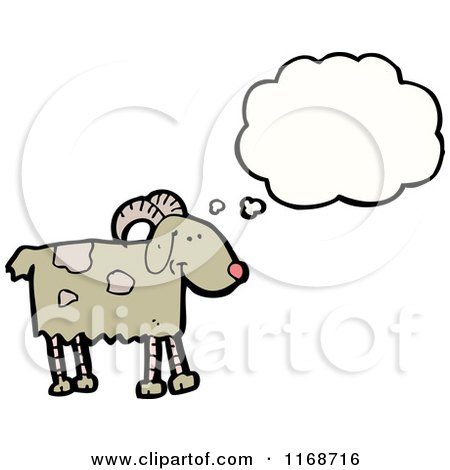 Cartoon of a Thinking Goat - Royalty Free Vector Illustration by lineartestpilot