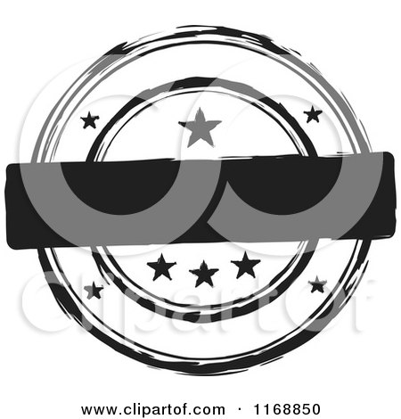 Clipart of a Black and White Circular Ink Stamp Label with Stars and Copyspace - Royalty Free Vector Illustration by michaeltravers