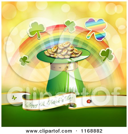 Clipart of a Happy St Patricks Day Greeting Background with Shamrocks a Rainbow and a Hat of Leprechauns Gold - Royalty Free Vector Illustration by merlinul