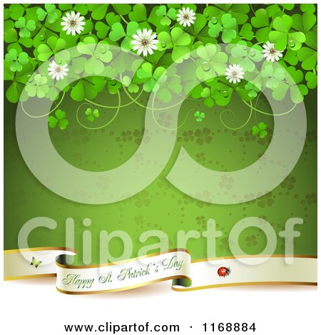 Clipart Of A Happy St Patricks Day Greeting Over Green With Clovers And Flowers Royalty Free Vector Illustration