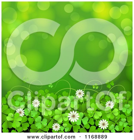 Clipart of a Green St Patricks Day Background with Shamrock Clovers and Flowers over Flares 2 - Royalty Free Vector Illustration by merlinul