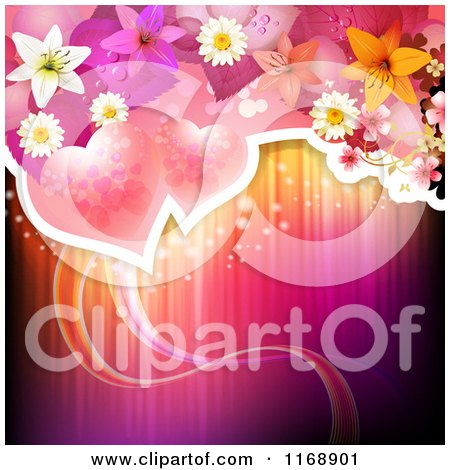 Clipart of a Valentine or Wedding Background of Roses Flowers and Hearts over Lights - Royalty Free Vector Illustration by merlinul
