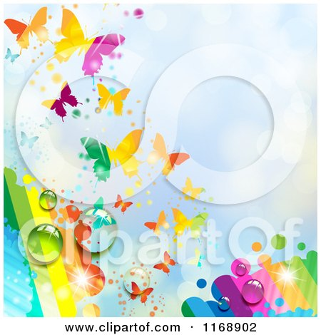 Clipart of a Spring Time Rainbow Dew Butterfly Background over Blue 2 - Royalty Free Vector Illustration by merlinul