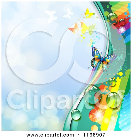 Clipart of a Spring Time Rainbow Dew Butterfly Background over Blue - Royalty Free Vector Illustration by merlinul