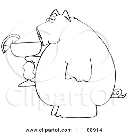 Cartoon of a Black and White Pig Holding a Margarita - Royalty Free Vector Clipart by djart