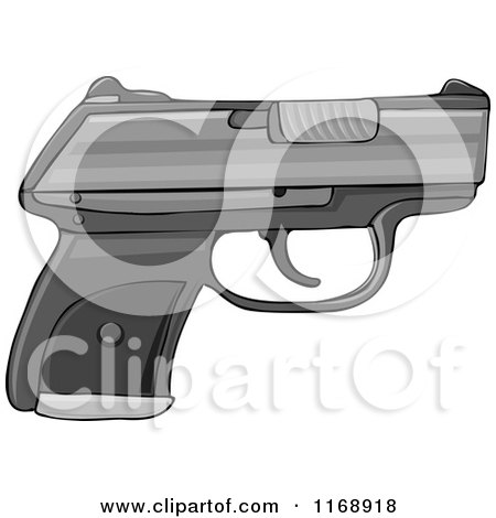Cartoon of a Semi Automatic Hand Gun - Royalty Free Vector Clipart by djart