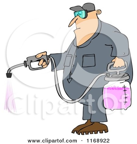 Cartoon of a Caucasian Worker Man Spraying Chemical Pesticides - Royalty Free Clipart by djart