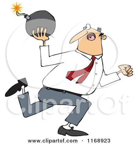 Cartoon of a Caucasian Businessman Running and Ready to Throw a Bomb - Royalty Free Vector Clipart by djart