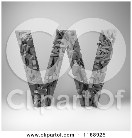 Clipart of a 3d Capital Letter W Composed of Scrambled Letters over Gray - Royalty Free CGI Illustration by stockillustrations