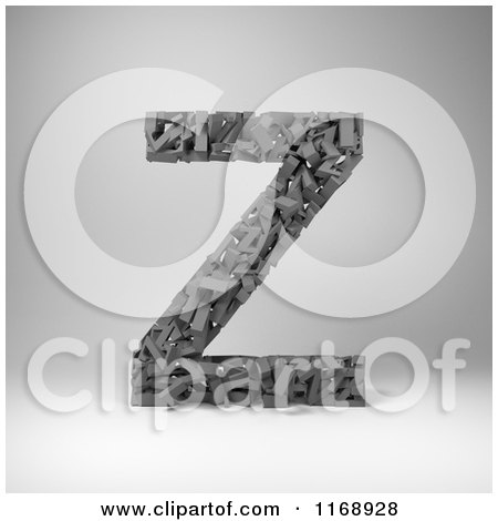 Clipart of a 3d Capital Letter Z Composed of Scrambled Letters over Gray - Royalty Free CGI Illustration by stockillustrations