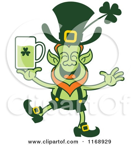 Cartoon of a St Patricks Day Leprechaun Holding a Green Beer - Royalty Free Vector Clipart by Zooco