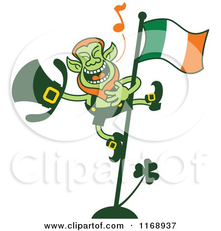 Cartoon of a St Patricks Day Leprechaun Singing on a Flag Pole - Royalty Free Vector Clipart by Zooco