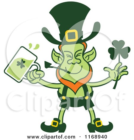 Cartoon of a St Patricks Day Leprechaun Drinking Green Beer - Royalty Free Vector Clipart by Zooco