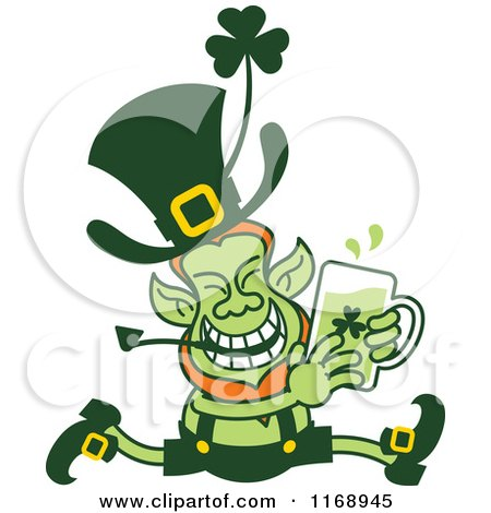 Cartoon of a St Patricks Day Leprechaun Running with Beer - Royalty Free Vector Clipart by Zooco