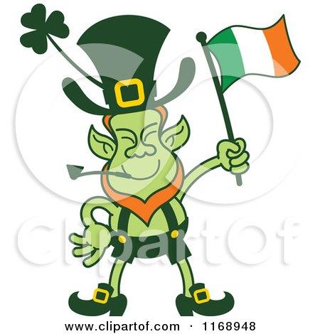 Cartoon of a St Patricks Day Leprechaun Waving an Irish Flag - Royalty Free Vector Clipart by Zooco