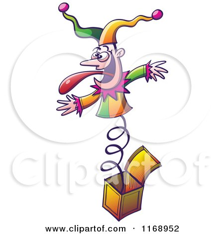 Cartoon of a Jester Popping out of a Jack in the Box - Royalty Free Vector Clipart by Zooco