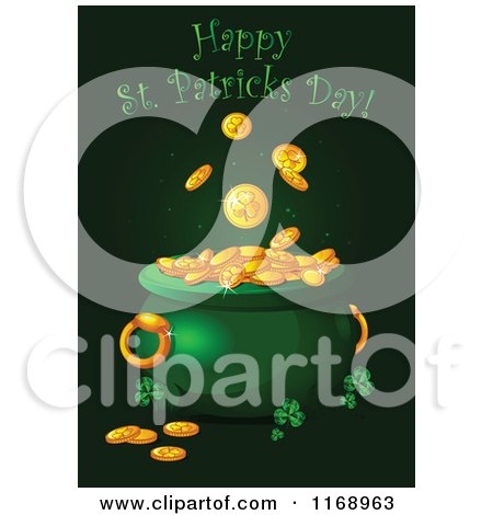 Cartoon Of A Happy St Patricks Day Greeting Over A Leprechauns Pot Of Gold Royalty Free Vector Clipart