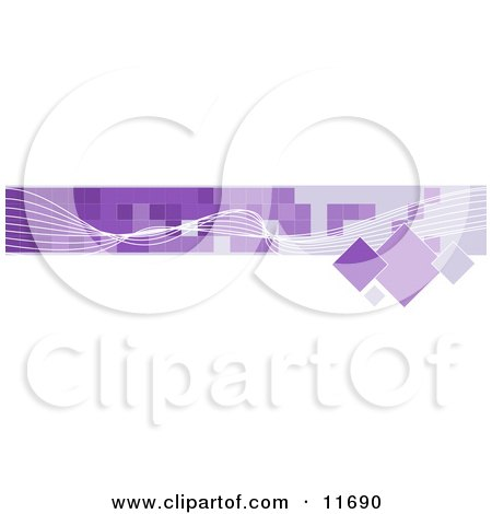 Internet Web Banner With White Line and Purple Squares Clipart Illustration by AtStockIllustration
