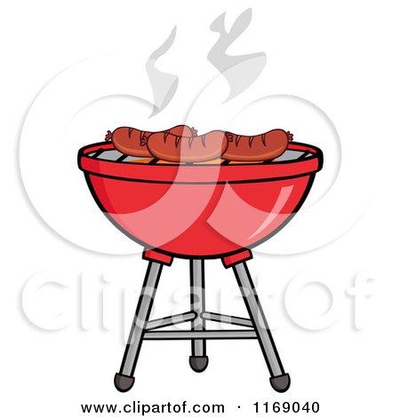 Cartoon of Sausages Roasting on a Charcoal Bbq Grill - Royalty Free Vector Clipart by Hit Toon