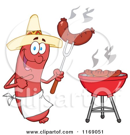 Cartoon of a Mexican Sausage Chef Mascot Pointing to a Weenie on a Fork - Royalty Free Vector Clipart by Hit Toon