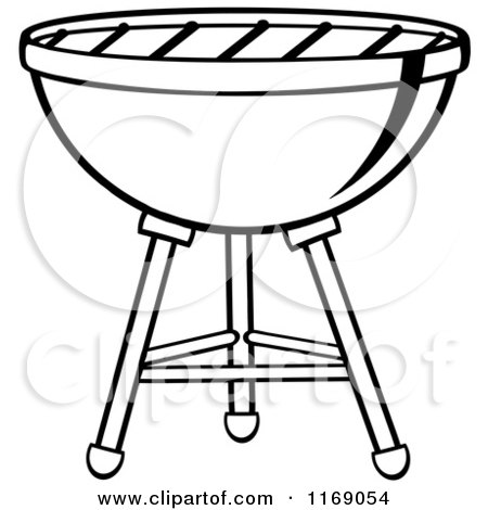 Cartoon of a Black and White Charcoal Bbq Grill - Royalty Free Vector ...