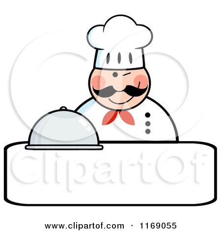 Cartoon of a Happy Chef Holding a Cloche Platter and a Winking over Copyspace - Royalty Free Vector Clipart by Hit Toon