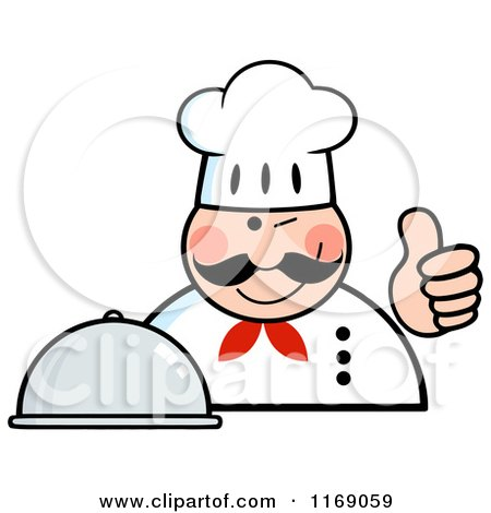 Cartoon of a Happy Chef Holding a Cloche Platter and a Thumb up - Royalty Free Vector Clipart by Hit Toon