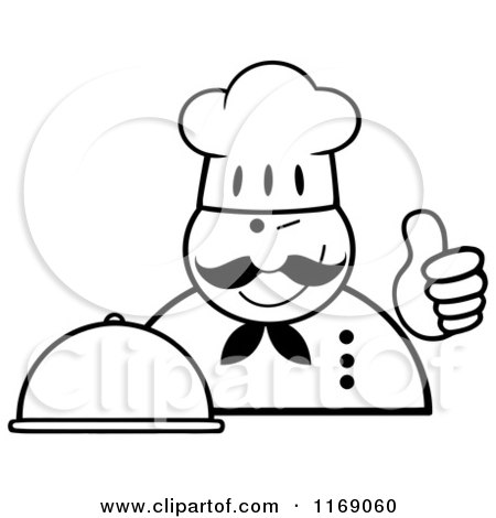 Cartoon of a Happy Black and White Chef Holding a Cloche Platter and a Thumb up - Royalty Free Vector Clipart by Hit Toon