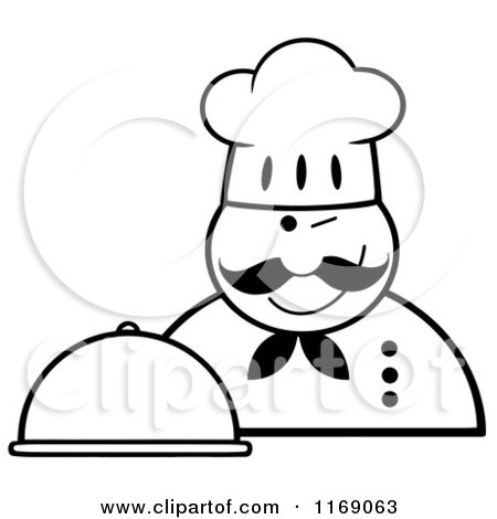 Cartoon of a Happy Black and White Chef Holding a Cloche Platter and a Winking - Royalty Free Vector Clipart by Hit Toon