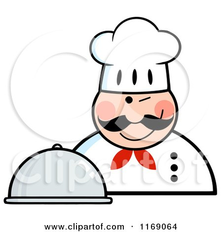 Cartoon of a Happy Chef Holding a Cloche Platter and a Winking - Royalty Free Vector Clipart by Hit Toon