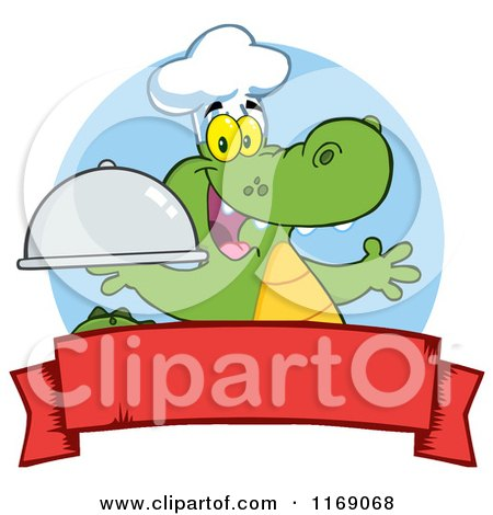 Cartoon of a Happy Chef Alligator Holding a Platter Cloche over a Red Banner - Royalty Free Vector Clipart by Hit Toon