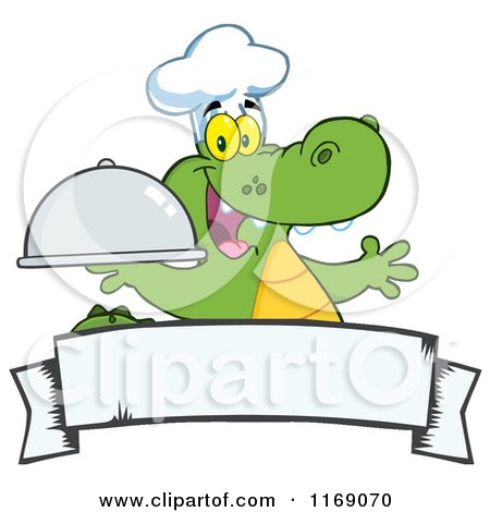 Cartoon of a Happy Chef Alligator Holding a Platter Cloche over a Banner - Royalty Free Vector Clipart by Hit Toon