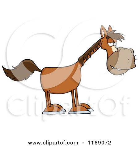 Cartoon of an Old Brown Horse - Royalty Free Vector Clipart by Hit Toon
