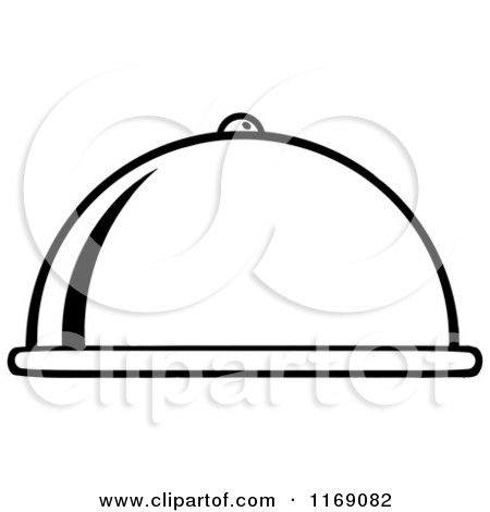 Cartoon of a Black and White Cloche Platter - Royalty Free Vector Clipart by Hit Toon