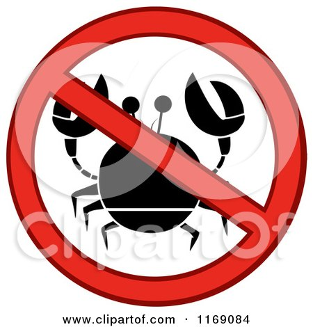 Cartoon of a Red Crab and Restricted Circle - Royalty Free Vector Clipart by Hit Toon